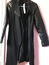 NEW Women Ladies Bluejuice Syn Leather Sleeves Long Jacket Coat AUS 6 RRP$149