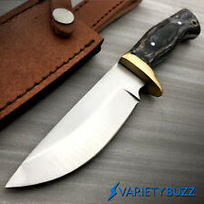 """9"""" FULL TANG BLACK WOOD SURVIVAL HUNTING KNIFE Tactical Fixed Blade Leather Case"""