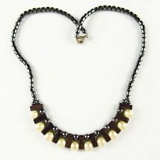 Natural Pearl Shell Ball Black Hematite Oblong Pendant Necklace 17.5 inch Q67605