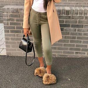 Real Fox Fur Slides Women's Slippers Indoor Outoor Furry Comfort  Sandals Shoes