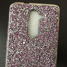 ZTE ZMAX PRO Z981 / GRAND X MAX 2 - Purple Crystal Diamond Stud Rubber Skin Case
