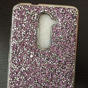 ZTE ZMAX PRO Z981 / GRAND X MAX 2 - Purple Crystal Diamond Stud Rubber Skin Case