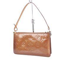 Auth LOUIS VUITTON Lexington Bronze Vernis Leather Pochette Hand Bag #25648