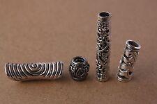 4 Mixed 5mm Hole (3/16 Inch) Dreadlock Beads Dread Tube Tibetan Stainless Steel
