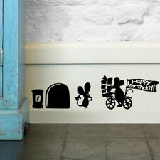 2x Sticker Mural Autocollant Trou Souris Amovible Pr Mur Mural Chambre Salon NF