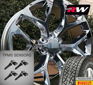 20 inch GMC Sierra Snowflake Wheels Chrome Rims A/T Tires fit Chevy Silverado