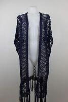Soft Surroundings Open Knit Fringe Open Front Long Boho Cardigan Petite Large XL