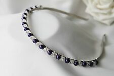 Handmade Bridal Bridesmaid Prom - Cadbury Purple & Crystal headband Aliceband