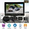 "7"" Split Front+Rear View Recorder DVR HD Monitor+AHD Camera For Truck VAN RV"