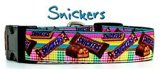"""Snickers Candy dog collar handmade adjustable buckle collar 1"""" wide or leash"""