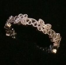 HALF ETERNITY REAL DIAMONDS WEDDING BAND VINTAGE RING ART NOUVEAU  FILIGREE 10k
