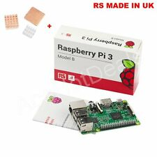 Raspberry Pi 3 Model B 1gb RAM 1.2ghz CPU Original RS Made in UK &heat Sink Kit