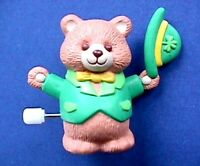 Hallmark PIN St Patrick Vintage WIND UP BEAR Tipping HAT Irish Holiday Brooch
