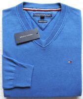 Tommy Hilfiger Men's Signature Solid V-Neck Sweater, Blue