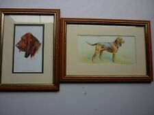 More details for bloodhound dog two mounted and framed prints