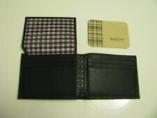 NWT BOCONI Gregory Flip ID Passcase Black leather Wallet with Navy& Burgundy