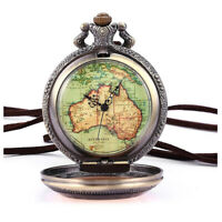 Australien Karte Taschenuhr Analog Quarz Uhr Bronze Kettenuhr Unisex X7S2 1E