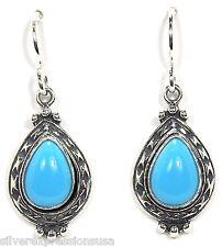 Teardrop Sleeping Beauty Turquoise 925 Sterling Silver Dangle Earrings- Made USA