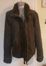 Utilizado para hombre gris Abercrombie Fitch A&F Adirondack Chaqueta de Abrigo de piel sintética grande