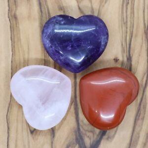 Rose Quartz Amethyst & Red Jasper Heart Gift Set 25mm Love Valentines Present