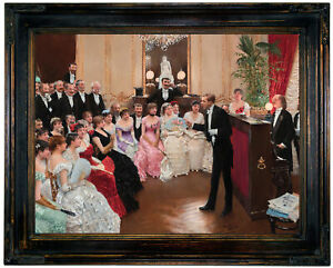 Beraud The Monologue 1882 Wood Framed Canvas Print Repro 12x16