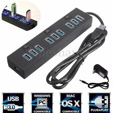 10 Port Charger USB3.0 Hub + High Speed AC Power Adapter ON/OFF Switch Laptop/PC