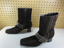ECCO womens brown suede harness heel ankle boots 38 7.5 M EUC