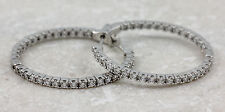 925 Sterling Silver Cubic Zirconia Hoop Earrings, 7.02g NEW #00003872