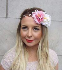 Pink White Ivory Gypsophila Peony Rose Flower Garland Headband Hair Crown 2739
