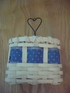 """Small Signed Handmade Wooden Basket with Wire Heart Blue Accent Ribbon 6"""" x 5"""""""