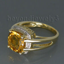 Real 14k Yellow Gold Diamond Cushion 9mm Citrine Engagement Wedding Gem Ring