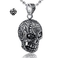 Silver skull pendant made with swarovski crystal black stainless steel necklace
