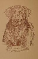 CHOCOLATE LABRADOR RETRIEVER DOG ART GIFT #63 Artist Kline adds dogs name free.