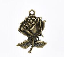 5 x Rose Fiori Ciondolo Charm color bronzo 25x17mm Lega di zinco antico