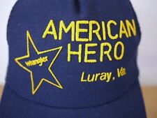 Vintage WRANGLER AMERICAN HERO Luray Virginia Mesh Trucker Cap Hat One Size Adj