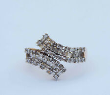 Genuine Round/Baguette Diamond Ribbon Cluster Ring w/ 86 Dia. - 10k Yellow Gold
