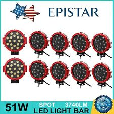 10PCS 7inch 51W LED Round Spot Work Driving Light Off-road Truck Boat Jeep Red