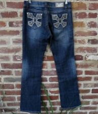 LA Idol Jeans Dark Wash Boot Cut Bling Jewels Crosses Size 7 (29x34)