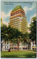 MOBILE, Alabama  AL    MERCHANTS NATIONAL BANK  ca 1940s Linen   Postcard