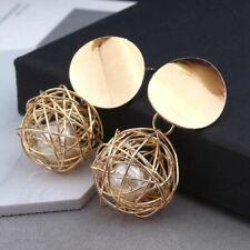 Elegant Women Gold Plated Round Pearl Cage Dangle Drop Earrings Ear Stud Jewelry