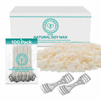 100% Soy Wax Flakes 10LB - All Natural Candle Making Set w/ Wicks & Wick Holder