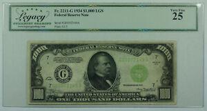 1934 $1000 One Thousand Dollar Bill LGS FRN Fr. 2211-G Legacy VF-25 (DW)