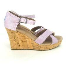 Toms Woven Cork Women's Platform Wedge Strappy Open Toe Sandal Size 8.5