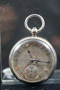Silver open face fusee pocket watch, London 1917, silver dial with gold AF AC3