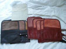 Genuino Marrón/color rojizo/Crema de Cuero Real Bolsa de viaje de 2 Rollo/Organizador-Hecho a Mano