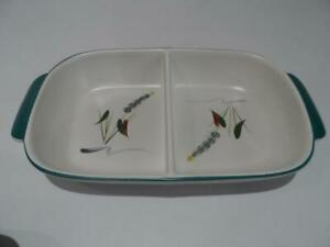 DENBY GREENWHEAT OBLONG DIVIDED SERVING DISH LOOKS UNUSED