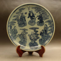 Chinese Old Blue and White Eight Immortals Pattern Porcelain Plate