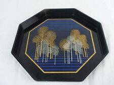 Vtg Mid Century Toyo Japan Lacquer Octagon Tray modernist Trees