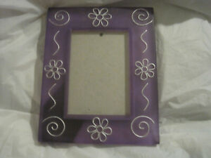 Purple  Frosted Frame with Silver Swirl and Flowers ~ 3 x 5~Free Standing~LBDAG