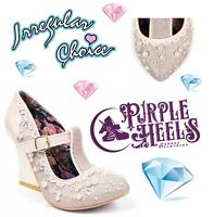 Irregular Choice Juicy Jewels Ivory Pink Pearl Jewel Bridal Heel UK4-6.5 EU37-40